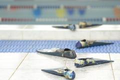 komiczka ślad od flippers iść woda w basenie zdjęcie royalty free
