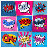 Komiczka bąble Ustawiający Wyrażenia Bomy, Chłodno, Pow, Oops, no! no!, sen royalty ilustracja