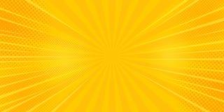 Komiczka promieni tło z halftones Wektorowy lata tło royalty ilustracja