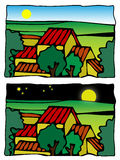 komiczki rolny ilustracyjny sceny wektor ilustracja wektor
