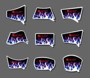 Komiczki stiker labell ikony ogienia płomienie projektują kartonu tło royalty ilustracja
