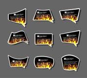 Komiczki stiker labell ikony ogienia płomienie projektują kartonu tło ilustracja wektor