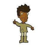 komiczna kreskówka martwiący się mężczyzna daje aprobata symbolowi Zdjęcia Stock