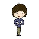 komiczna kreskówki kobieta robi Czemu Ja? gest Zdjęcie Royalty Free