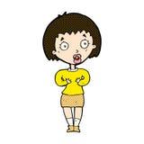 komiczna kreskówki kobieta robi Czemu Ja? gest Fotografia Stock