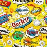 Komiczna mowa gulgocze bezszwowego deseniowego wektor Obraz Royalty Free