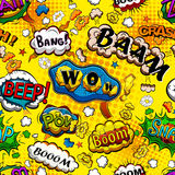 Komiczna mowa gulgocze bezszwowego wzór z żółtym tło wektorem Fotografia Royalty Free
