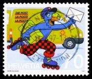 Komiczna postać Globi jako listonosz, 20th Międzynarodowy komiczka festiwal, Sierre seria około 1997, obraz stock