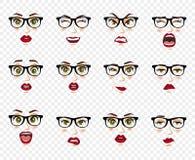 Komiczne emocje Kobieta z szkło wyrazami twarzy, gesty, emoci szczęścia niespodzianki obmierzłości smucenia zachwyt Fotografia Royalty Free