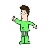 komicznej kreskówki główkowania pozytywny mężczyzna w łachmanach Obraz Stock