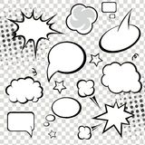 Komiczni mowa bąble, komiks na monochromu i Zdjęcie Royalty Free