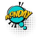 Komiczny żółty efekta dźwiękowego wystrzału sztuki Poniedziałku tydzień ilustracja wektor