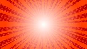 Komiczny czerwony słońce promieni tła wystrzału sztuki kicza retro wektorowy ilustracyjny rysunek ilustracji
