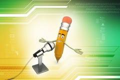 Komiczny ołówek z mikrofonem Zdjęcie Stock