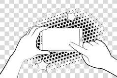 Komiczny telefon z halftone cieniami bank tła ręka trzymająca zauważy smartphone Podpisuje wewnątrz stronę na telefonu ekranie 10 royalty ilustracja