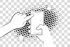 Komiczny telefon z halftone cieniami bank tła ręka trzymająca zauważy smartphone Podpisuje wewnątrz stronę na telefonu ekranie 10 ilustracji