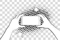 Komiczny telefon z halftone cieniami bank tła ręka trzymająca zauważy smartphone Wektorowa ilustracja eps 10 na tle royalty ilustracja