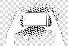 Komiczny telefon z halftone cieniami bank tła ręka trzymająca zauważy smartphone Wektorowa ilustracja eps 10 odizolowywająca na t ilustracja wektor