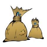 Komicznych postać z kreskówki śliczni rodzinni worki, wektorowy illustr Obraz Stock