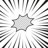Komiker den radiella linjen för prålig explosion på den genomskinliga isolerade bakgrunden Pråligt stråltryckvågglöd superhero ve royaltyfri illustrationer