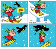 Komiker med en pojke och en galande stock illustrationer