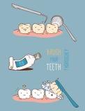 Komiker om tand- diagnostik och behandling vektor illustrationer