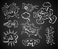 Komiker på den svart tavlan stock illustrationer