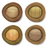 Komiker rundade Wood Viking Shields Royaltyfri Foto