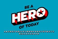 Komiker utformar stilsortsdesignen, inspirerat alfabet för superhero stock illustrationer