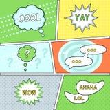 Komikeranförande bubblar på Retro bakgrund Royaltyfri Foto