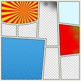 Komikerbokbakgrund i olika färger Tom mallbakgrund Pop-konst stil Royaltyfri Bild
