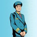 Komikerflygkapten stock illustrationer