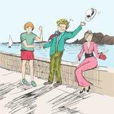 komikern för kontorist för fjärilstecknad filmbarn följer s-remsastil Två män som möts av ett hav vänlig hälsning Folket tar av d Royaltyfri Bild