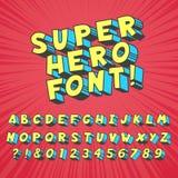 Komikerstilsort för toppen hjälte Komisk grafisk typografi, roligt supershjältealfabet och idérik vektor för stilsortsbokstavssym royaltyfri illustrationer