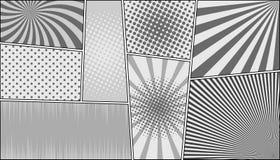Komiks strony horyzontalny monochromatyczny tło ilustracji