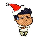 komiks stylowa ilustracja sfrustowany m??czyzna jest ubranym Santa kapelusz ilustracji
