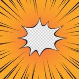 Komiksu kolor żółty Błysk wybuch promieniowa linia na przejrzystym odosobnionym tle bohater wektor royalty ilustracja