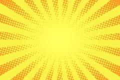 Komiksu stylowy tło Halftone tekstura, rocznik kropkujący tło w wystrzał sztuki stylu Retro słońce promienie, sunbeams ilustracja wektor