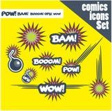 Komiksu stylu bomb huku bam no! no! pow ops wybuchają Zdjęcie Royalty Free