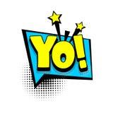 Komiksu teksta bąbla reklamowy yo, hej royalty ilustracja