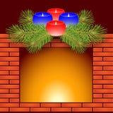 Kominek i Boże Narodzenie świeczki Zdjęcie Stock