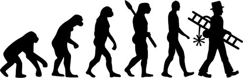 Kominowa wymiatacz ewolucja ilustracja wektor