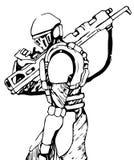 Komisch-ähnlicher futuristischer Soldat des Vektors mit einem Gewehr auf der Schulter stock abbildung