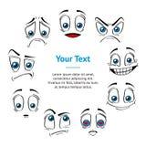 Komische Art stellt Gefühl-Ausdruck-Fahnen-Karten-Kreis gegenüber Vektor lizenzfreie abbildung