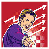 Komische Artillustration der Pop-Art des Geschäftsmannes Stockbilder