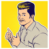 Komische Artillustration der Pop-Art des Geschäftsmannes Stockfoto