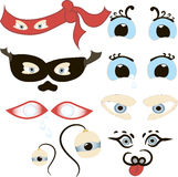 Komische Augen stellten, Illustration eines Satzes des lustigen Karikaturmenschen, Tiere, Haustiere oder die Augen des Geschöpfs  Stockfotos