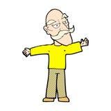 komische ausgebreitete Arme des alten Mannes der Karikatur weit Stockfotografie