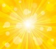 Komische gelbe Sonne strahlt Vektorillustrations-Kitschzeichnung der Hintergrundpop-art Retro- aus stockbild