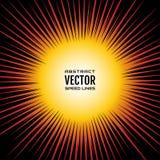 Komische Geschwindigkeit zeichnet Radialhintergrund, wie eine Sonne Festliche Illustration der roten gelben Steigung mit Effekten Stockfoto
